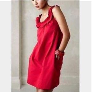 Anthropologie Fei Carambola Red Ruffle Shift Dress